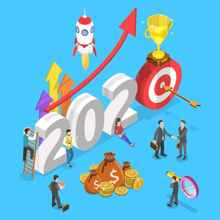 Isometric flat vector concept of 2020 - successful financial year of opportunities.