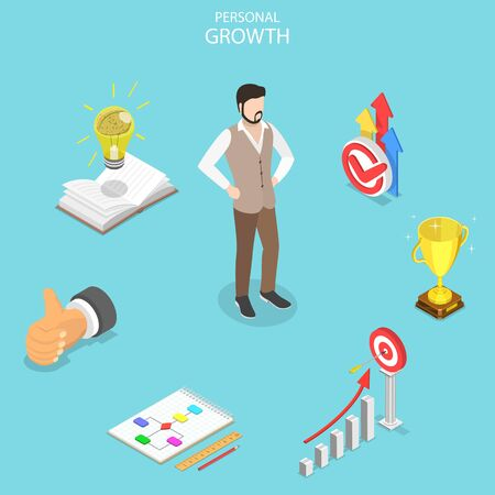 Isometric flat vector concept of self-development, career achievements, high goals achievement, growth of personal qualities.