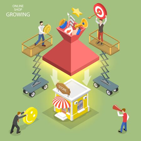 Isometric flat vector concept of online shop growing, business start up, online store launch, digital marketing campaign.