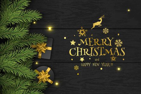 Christmas Vector Composition on Dark Wooden Background. For Greeting Card. Illustration