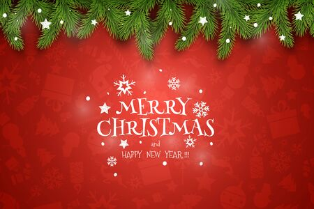 Christmas Vector Composition. Holiday Wishes on Red Background.
