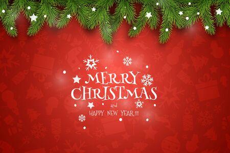 Composición de vectores de Navidad. Deseos de vacaciones sobre fondo rojo.