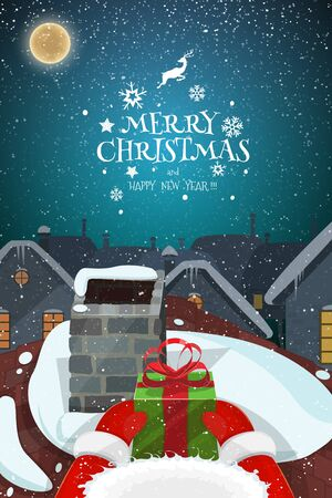 Snowy magical Christmas evening landscape vector illustration with.