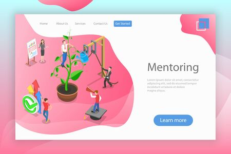 Isometric flat vector landing page of mentoring, guide to reach a goal. Illustration