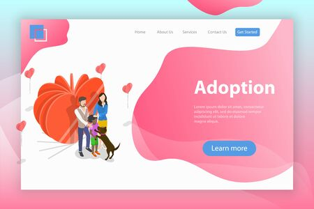 Isometric flat vector landing page template of child adoption, physical.