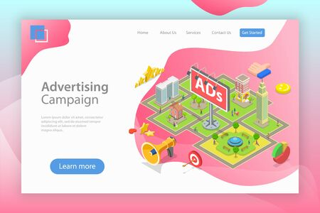 Isometric flat vector landing page template of outdoor advertising.  イラスト・ベクター素材