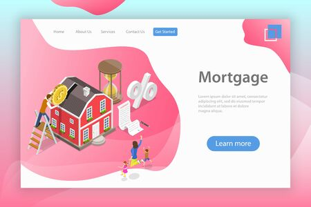 Isometric flat vector landing page template of mortgage, real estate deal. 向量圖像