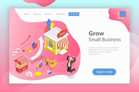 Isometric flat vector landing page tempate of small business growth.