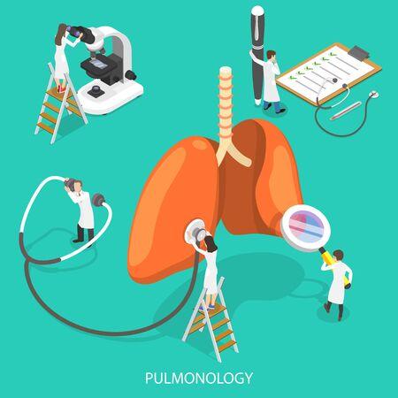 Isometric Flat Vector Illustration of Respiratory Medicine, Pulmonology Concept.