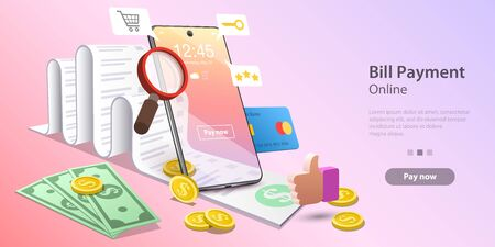 Vector concept illustration of bills online payment, secure mobile transaction, electronic shopping and banking. Template for website landing page.