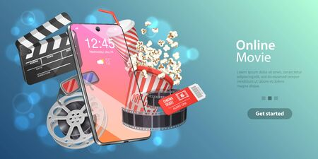 Mobile Movie Theater, Online Cinema Watching, Cinematography and Filmmaking, Ticket Ordering. Vector Template for Web Banner or Website Landing Page.