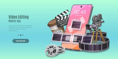 Concept of Mobile Video Editing App, Motion Design Studio Software, Multimedia Production, Video Blogging. Vector Template For Web Banner or Website Landing Page.