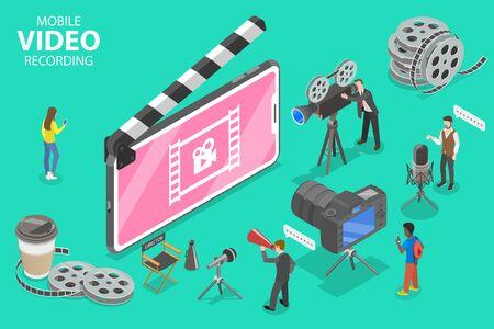 Isometric Flat Vector Concept of Mobile Video Recoding App, Motion Design Studio Software, Multimedia Production, Video Blogging. Illustration