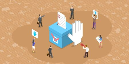 Isometrisches flaches Vektorkonzept der demokratischen Wahlumfrage, der sozialen Gerechtigkeit und des Wahlrechts, der Referendumskampagne.