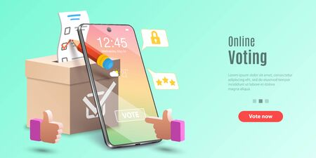 Concept d'application de vote en ligne, vote électronique, système d'élection sur Internet. Modèle vectoriel pour bannière Web ou page de destination de site Web.