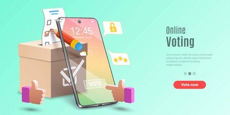 Konzept der Online-Voting-App, E-Voting, Internet-Wahlsystem. Vektorvorlage für Web-Banner oder Website-Landing-Page.
