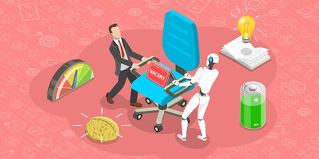 Vector Flat Isometric Concept of competition of Human Versus Robot. Arteficial Intelegence. Business Automation.