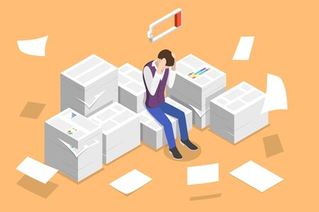 Isometric Vector Concept of Overworked and Tired Office Worker, Exhausted Paper Work, Project Deadline. Vetores