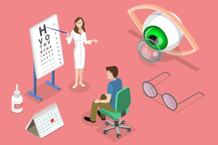 Isometric flat vector concept of ophthalmology, eyesight check up, eyes health care, ophthalmological examination. Illustration
