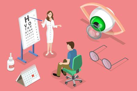 Isometric flat vector concept of ophthalmology, eyesight check up, eyes health care, ophthalmological examination. Illustration