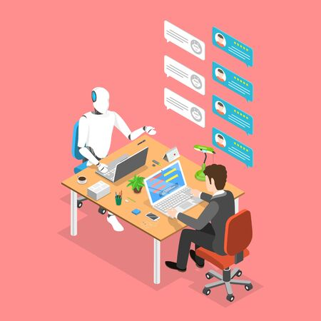 Flat isometric vector concept of chatbot, ai, artificial intelligence.
