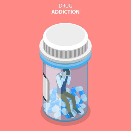 Flat Isometric Vector Concept of Drug Abuse and Addiction. 일러스트