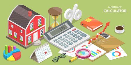 Concetto di vettore piatto isometrico del calcolatore di ipoteca, affare immobiliare.