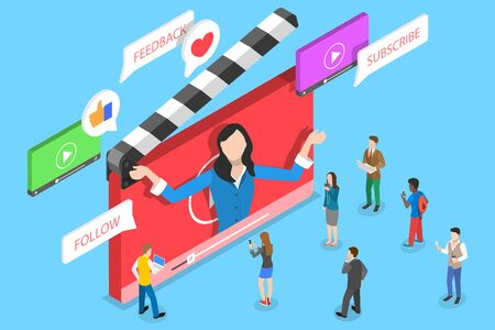 Flat isometric vector concept of video blog, vlog, online channel.