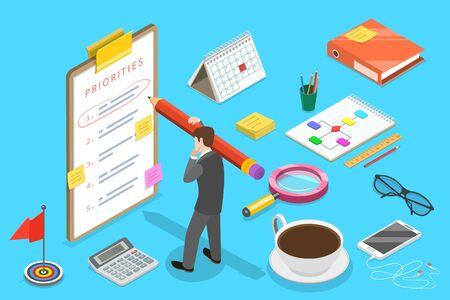 Isometric Vector Concept of Priorities List, Schedule Calendar, Effective Time Management. Vetores