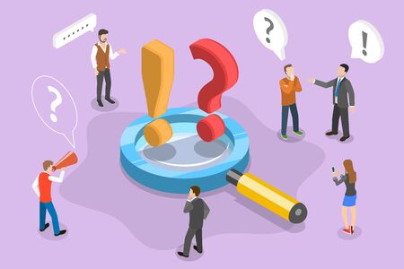 Isometric Vector Concept Illustration of Frequently Asked Questions. People are Asking Questions and Getting Answers Standing Around the Magnifying Glass With Question and Exclamation Signs on it. FAQ