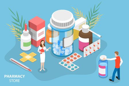 Isometric Vector Concept of Pharmacy Store. Pharmacist is Standing Around the Bottles and Boxes with Medicine and Suggesting some to the Customer. Illustration