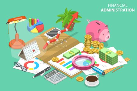 Isometric Vector Concept of Financial Administration. Audit Services, Tax Examination Report, Planning and Accounting. Ilustrace