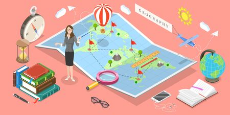 Isometric Vector Concept of Geography Science. The Teacher is Standing Next to the Map Pointing Out to one of Its Objects.