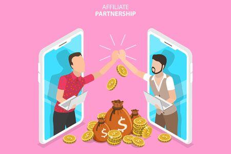 Isometric Fat Vector Concept of Sales Partnership, Marketing Strategy, Referral Program, Partnership Agreement. Vector Illustration