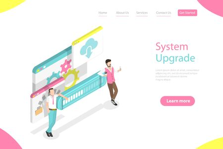 Isometric flat vector landing page template of data transfer process.