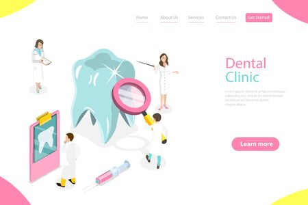 Isometric flat vector landing page template of dental checkup, prevention and treatment of tooth decay, healthy teeth. Vektoros illusztráció