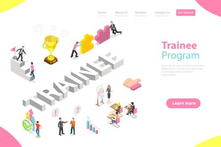 Isometric Flat Vector Landing Page Template of Company Trainee Program.