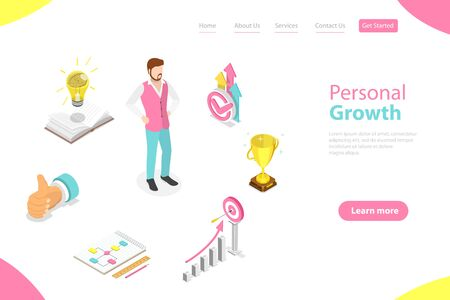Isometric Flat Vector Landing Page Template of Self-Development, Career Achievements, High Goals Achievement, Growth of Personal Qualities.