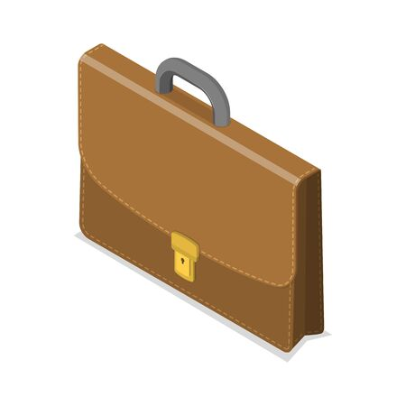 3D Isometric Flat Vector Concept of Briefcase.