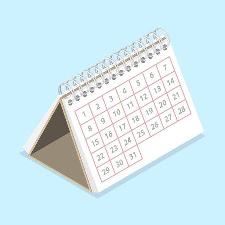 3D Isometric Flat Vector Concept of Calendar Ilustración de vector