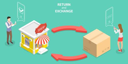 3D Isometric Flat Vector Concept of Product Exchange and Return Policy, Purchase Refunding. Vektoros illusztráció