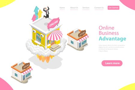 3D Isometric Flat Vector Landing Page Template of Online Business Advantages, Obstacles Overcome, Marketing Campaign, Online Shop Growing.