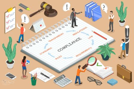 Regulatory Compliance 3D Flat Isometric Vector Concept. Business People Are Discussing Steps to Comply With Relevant Laws, Policies, and Regulations.