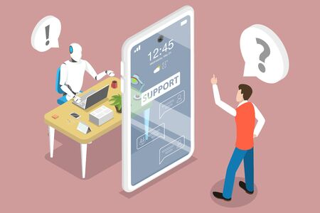 3D Isometric Flat Vector Concept of Customer Support Chatbot Assistant, AI, Artificial Intelligence, Markting Strategy.