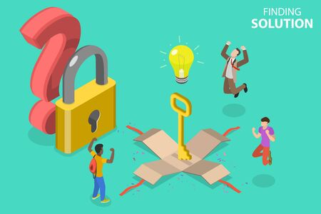 3D Isometric Flat Vector Concept of Finding Solution, Brainstorming and Teamwork, Simple Path to Problem Solving, Best Way to Goal Achieving. Vettoriali