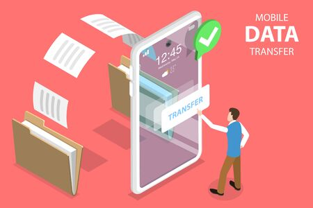 3D Isometric Flat Vector Concept of Document Transfering Service, Phone Data Exchange, Online Synchronization App.