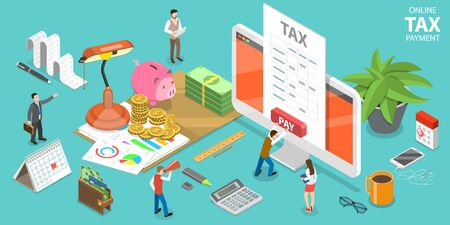 3D Isometric Flat Vector Concept of Online Tax Payment, Filling Tax Form. Vector Illustration