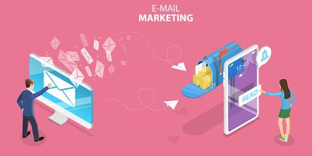 3D Isometric Flat Vector Concept of Mobile Email Marketing.