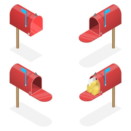 3D Isometric Flat Vector Set of Mailboxes.