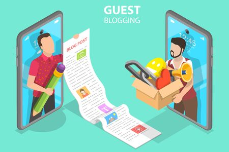 3D Isometric Flat Vector Concept of Commercial Blog Posting and Copywriting.